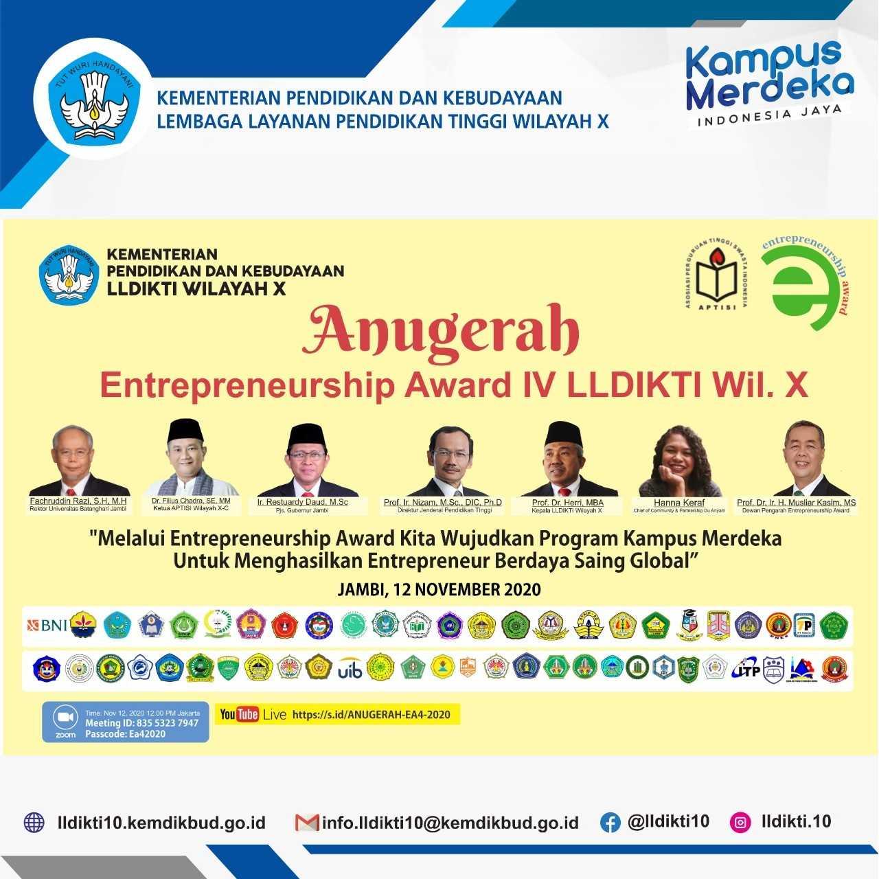 Anugerah Entrepreneurship Award IV  LLDIKTI Wilayah X Tahun 2020